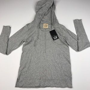 Chaser Cozy Knit 3/4 Boxy Pullover Grey Hoodie